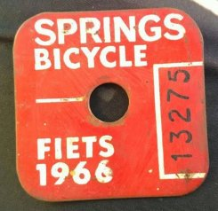 A bicycle registration tag then mandatory